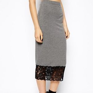 NWT ASOS Slip Pencil Skirt in Jersey with Lace Hem